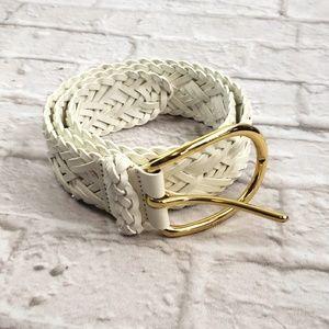 Etcetera women's White Leather Braided Belt